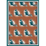 "Milliken NFL Team Repeat (NFL-R) Miami Dolphins 09050 Repeat Rectangle (4000054783) 7'8"" x 10'9"" Area Rug"